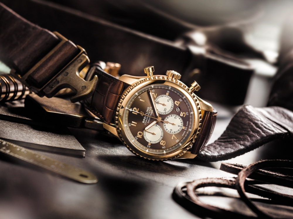Image 3 -Navitimer 8 B01 Chronograph 43 in 18k red gold with a  bronze dial and a brown alligator leather strap.jpg
